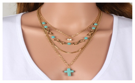 Turquoise Cross Chic Necklace 56c510ab-2463-46a2-9977-cd4752672a4d