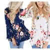 Women's Casual V Neck Floral Print Bell Sleeve Tunic Tops Blouse