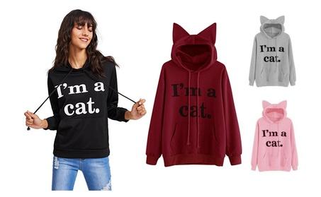 Womens Cute Cat Ear Long Sleeve Casual Pullover Hoodie Sweatshirt 03988bbd-5cb9-477e-a407-6855c6860566