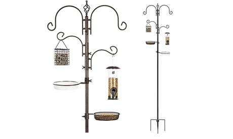 4-Hook Bird Feeding Station for Attracting Wild Birds w/ 2 Bird Feeders (Goods For The Home Patio & Garden Bird Feeders & Food) photo