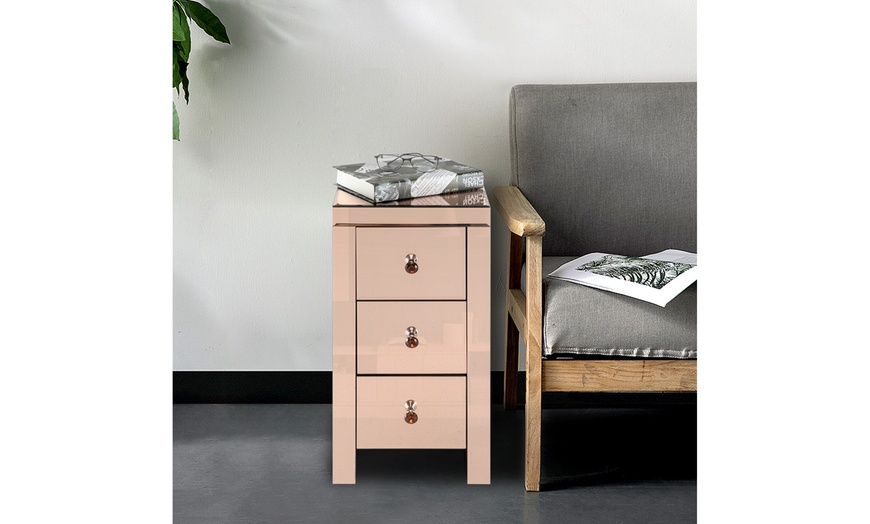 Up To 49 Off On Mirrored Glass Bedside Table Groupon Goods