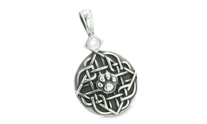 Amulet Celtic Shield Knot Baby Wolf Paw Protection Pendant Necklace Groupon