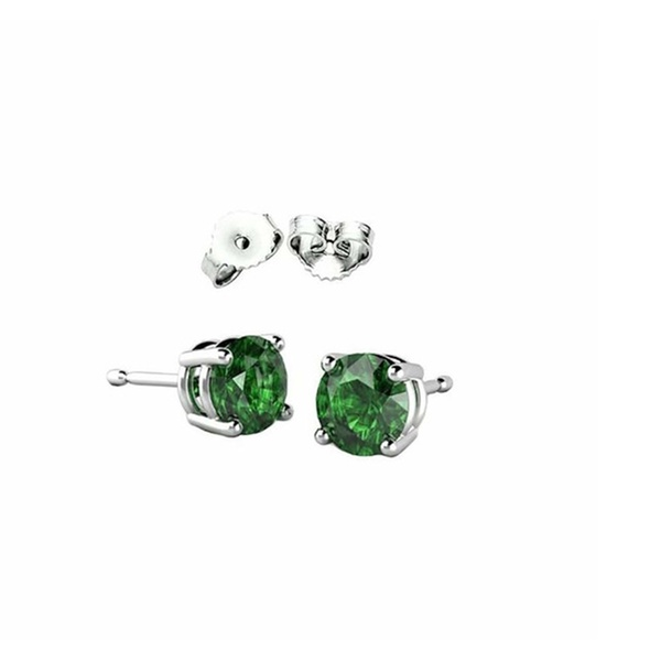 Solitaire Stud Post Earring Princess Cut Square Simulated Green Emerald 925 Sterling Silver