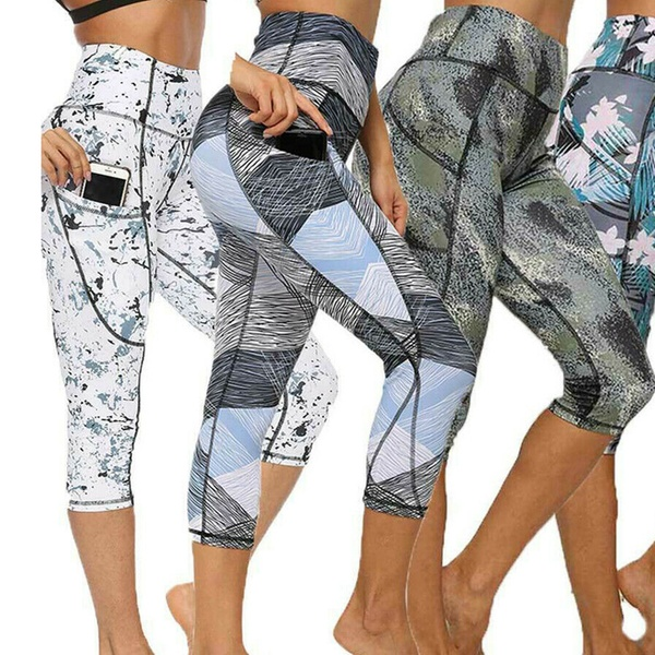 Womens High Waist Yoga Cropped Legging Fitness Sports Workout Pants with Pockets