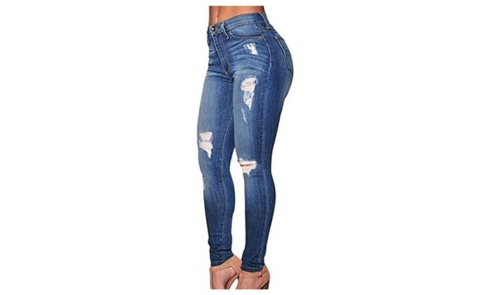 TomYork Denim Destroyed Skinny Jeans