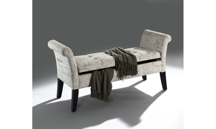 ... Avignon French Laundry Fabric Storage Ottoman Bench ...