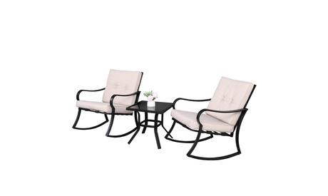 3 Pieces Patio Set Outdoor Wicker Patio Furniture Rocking Chair Rattan Chair