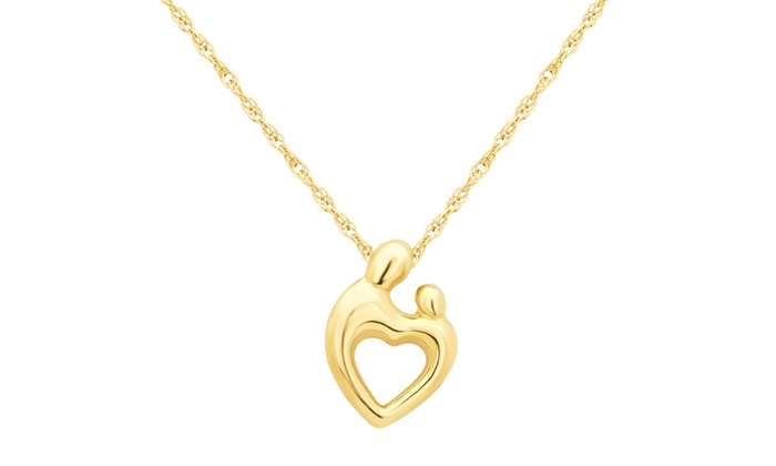 Mother and child pendant in 10k yellow gold by lartiste groupon mother and child pendant in 10k yellow gold by lartiste mozeypictures Images