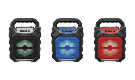2BOOM Portable Bluetooth Boombox Speaker with LED Lights (Blue)