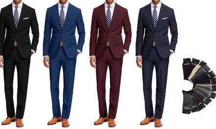 Braveman Men's Classic Fit 2-Piece Suit with dress socks