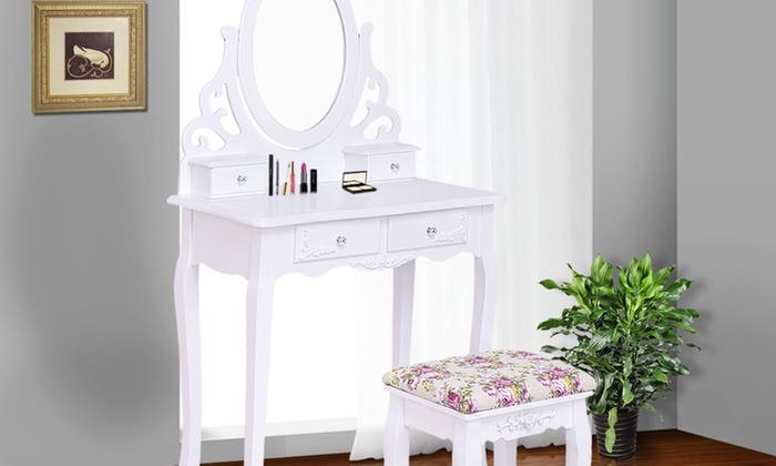 Wood Vanity Makeup Dressing Table Stool Set Bathroom White ...