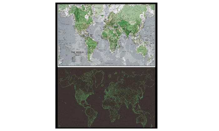 Glow in dark world map poster groupon glow in dark world map poster gumiabroncs Gallery