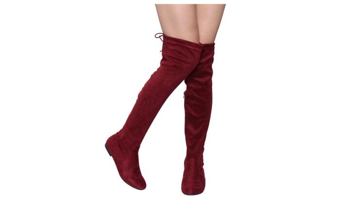 Beston FD99 Women's Over The Knee Tie Up Low Flat Heel Dress Boots