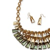 Beaded Necklace and Earrings Set Yellow Gold Tone
