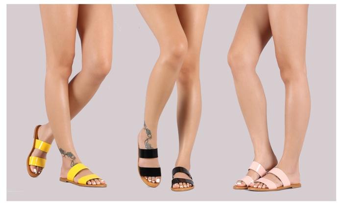 193d11755 Women s Comfortable Double Band Slide Flat Patent Sandals Coastline ...