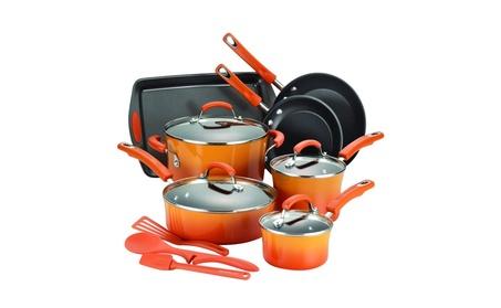 Rachael Ray 14-Piece Hard Enamel Nonstick Cookware Set, Orange bacb1969-c6c5-4e17-845c-f0e94ba9d82a