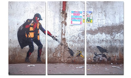Spiderman in Dharavi Slum Street Art Metal Wall Art 36x28 3 Panels f128de01-5d62-4510-a0b9-06ca1a1b0673