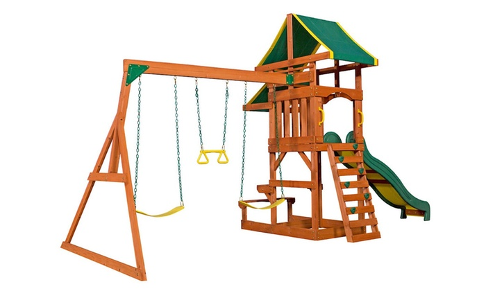 Backyard Discovery Tucson Cedar Wooden Playground Swing Set