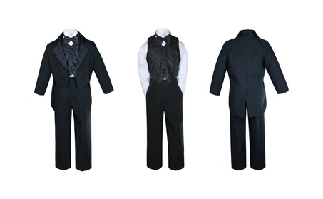 Black Paisley Vest Bow tie Tail Suit Tuxedo Baby to Teen