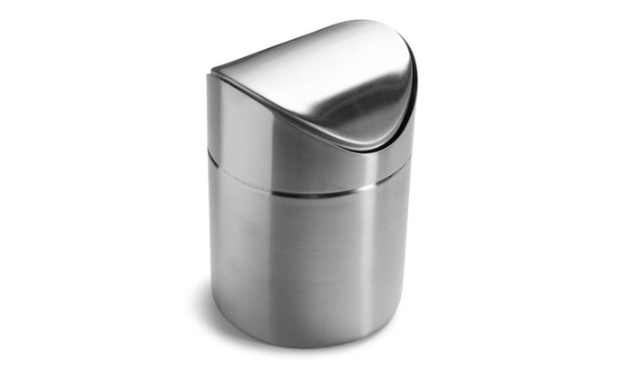 Bon Estilo Mini Countertop Trash Can, Brushed Stainless Steel, ...