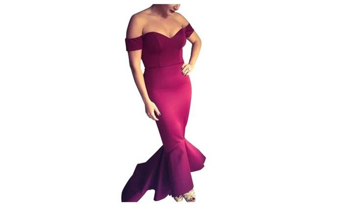 Women's HiddenZipper Solid Slim Fit European Style Dresses