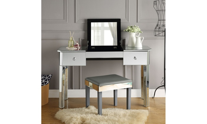 Addison Mirrored Vanity Table With Two Drawers And Lift Up Top