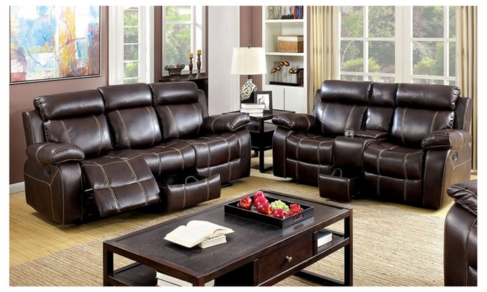 Vogar 2 piece living room set in brown leatherette groupon for Living room set deals