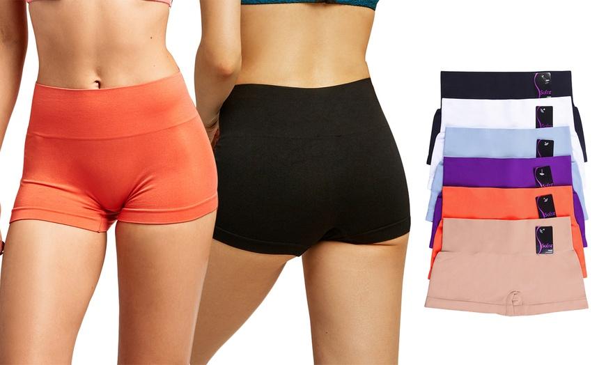 Blanca Women S Seamless High Waist Spandex Boyshort Panties 6 Pack Groupon