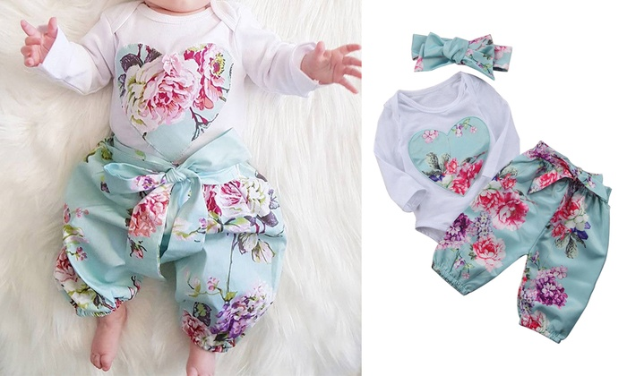 UK Newborn Infant Baby Girls Long Sleeve Rompers Clothes Outfit Sets Playsuit