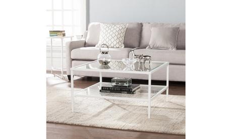 Keller Square Metal/Glass Open Shelf Cocktail Table - White 31d7bea5-5207-49f7-8634-04d53919abd6