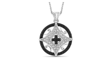 Jewelersclub Accent Black & White Diamond Pendant in Sterling Silver 7d084a0e-8158-443e-b434-aefdf52b65e9