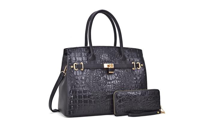 1001d5ca1af3c1 MK Belted Collection Faux Leather Satchel with Wallet | Groupon