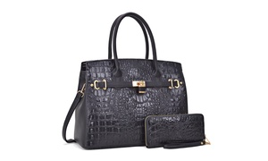 MK Belted Collection Faux Leather Satchel with Wallet