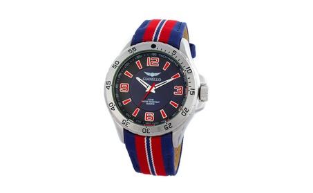 Gianello Racing Stripe Grosgrain Strap Sport Watch b22c77a1-ae3b-462b-9bab-5ca9273024e9