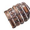 Tribal Ethnic Dark Brown Handmade Five Ps Set Leather Unisex Bracelets