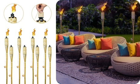 8/12 Pack Outdoor Bamboo Tiki Torches - 60 Long Yard Decor & Mosquito Repellent