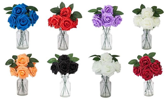 Wedding Flower Bouquet Realistic Foam Rose Bride Decor 25Pcs Party Decorations
