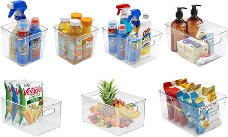 2/3/4 Clear Plastic Storage Bin Container Set- Pantry & Kitchen Fridge Organizer