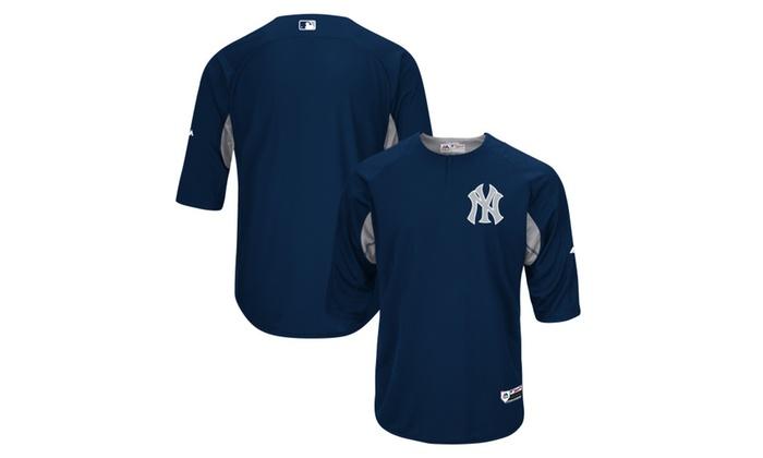 brand new 2b3b7 379ef New York Yankees Navy/Gray On-Field 3/4-Sleeve Batting ...