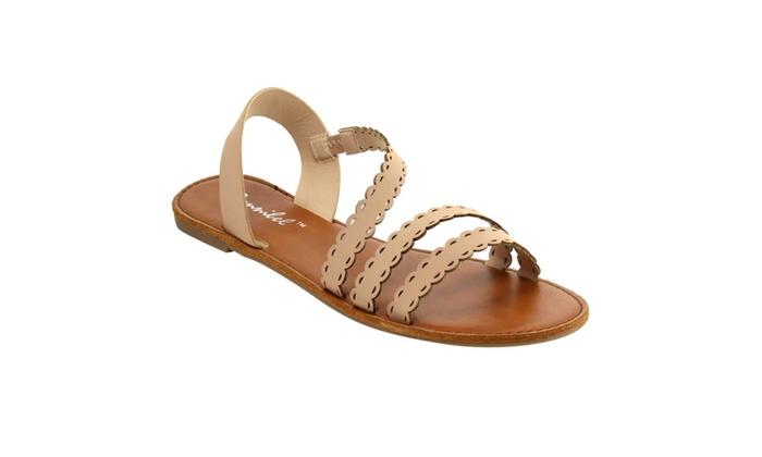 Beston FG65 Women's Scalloped Edge Strappy Slip On Summer Flat Sandals