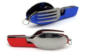 4-in-1 Folding Spoon, Fork, Knife, and Bottle Opener Cutlery Set