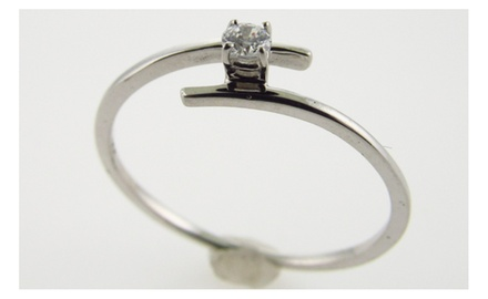 Genuine Diamond Engagement Ring Promise Ring 10kt White Gold Sizes 4 - 9