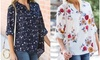 Reflection Women's Floral Roll Sleeve Blouse. Plus Sizes Available