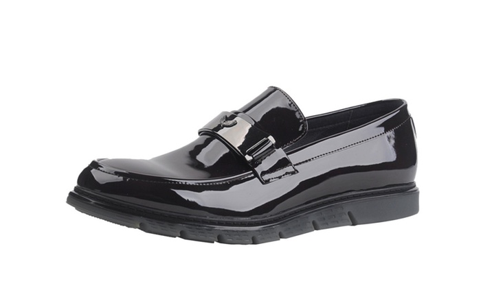 Men's Patent Leather Boat Loafer Shoes