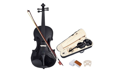 Acoustic Violin 4/4 Full Size Fiddle with Case Bow Black 13fd6718-77db-4239-9787-41941bd2809f