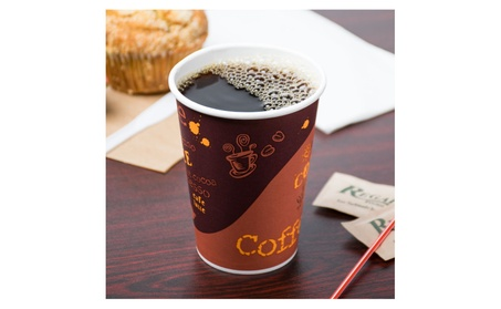 Poly Paper Hot Cup with Coffee Design - 1000 / Case with Lids - 12 oz 6b1da8c9-2d02-4693-bf5f-b086949e8864
