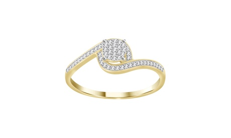 0.15 cttw Round Real Diamond Ladies Bypass Engagement Ring 10K Yellow Gold