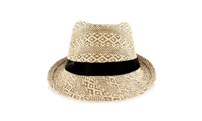 25b66ed3a3d Faddism Fashion Fabric Straw Weave Fedora Hat With Black Trim