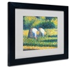 Georges Seurat 'Farmers at Work 1882' Matted Black Framed Art