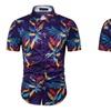 Dark Blue Printed Short Sleeve Shirt Collar Shirt